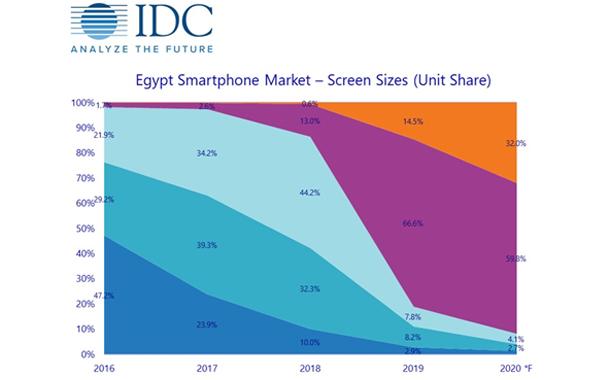 Breakdown of Egypt smartphone market by screen size 2018 vs. 2019.